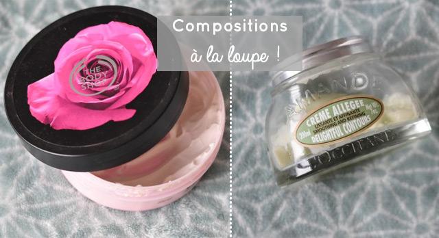 Compositions à la loupe du beurre corporel the body shop et d'une crème de l'Occitane