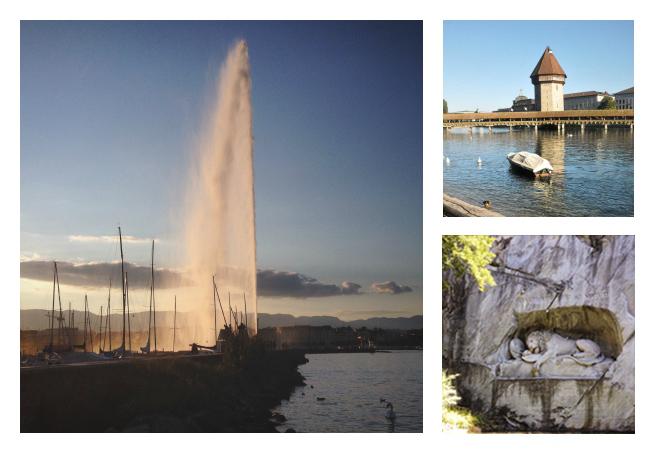 Jet d'eau de Genève et Lucerne