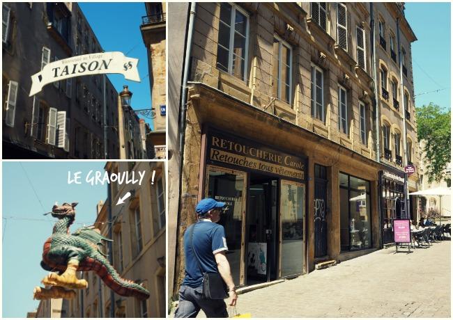 Rue Taison à Metz et le Graoully