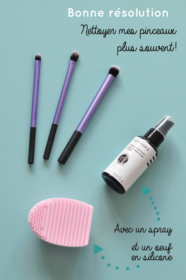 Résolution: nettoyer ses pinceaux de maquillage plus souvent! Oui mais avec quoi? Mes astuces: un spray + un oeuf en silicone
