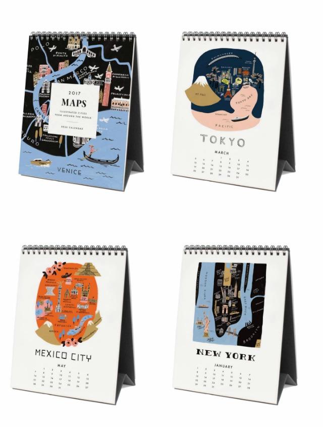 Joli calendrier 2017 Maps - cartes géographiques illustrées - rubrique papeterie du blog lifestyle Birds & Bicycles