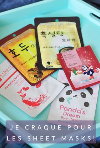 Avis et tests de sheet masks des marques coréennes Innisfree et Erborian