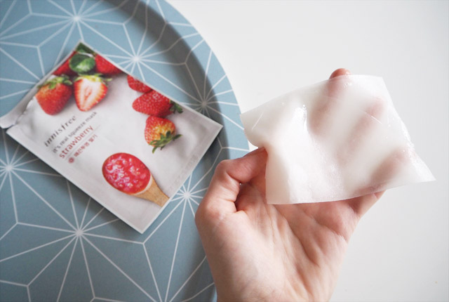 Sheet mask de la marque coréenne Innisfree, It's real squeeze mask strawberry: test et avis