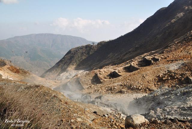Des fumerolles soufrées sortent de terre à Owakudani près d'Hakone Blog voyage Japon