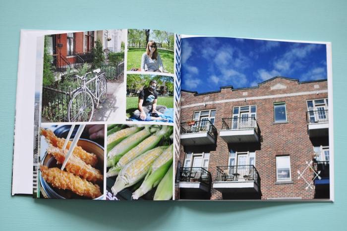 La belle mise en page de Flexilivre pour créeer son livre photo de voyage - ici un séjour à Montréal