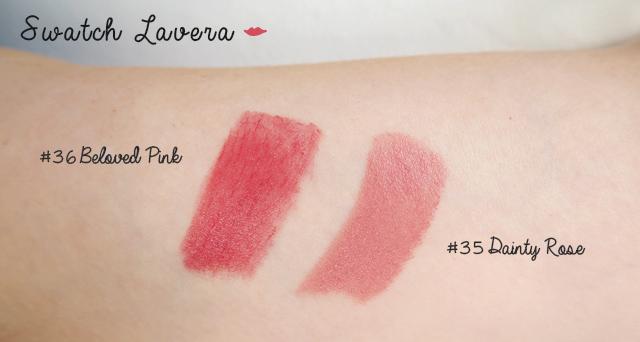 Avis et swatch des rouges à lèvres bio de Lavera #35 Dainty Rose et #36 Belovec Rose - Sur le blog beauté bio Birds & Bicycles