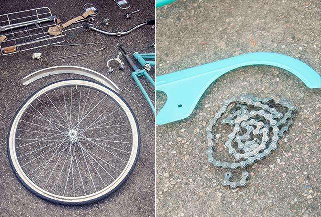 Les pièces du vélo vintage démonté