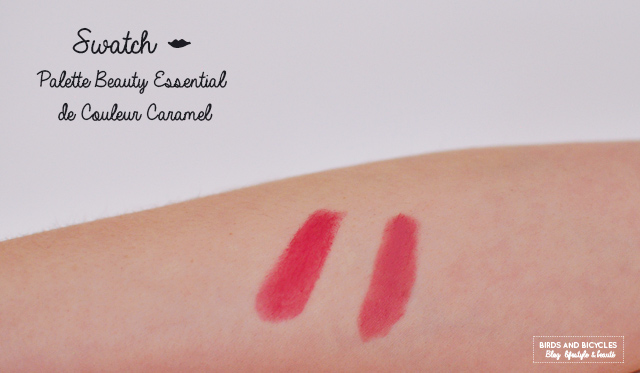 Swatch de rouges à lèvres de la palette Beauty Essential de Couleur Caramel