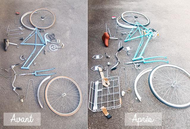 Avant / Après: un éclaté des pièces du vélo