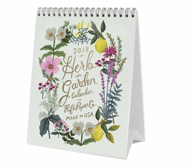 Le joli calendrier pour 2018 Herb Garden de Rifle Paper Co