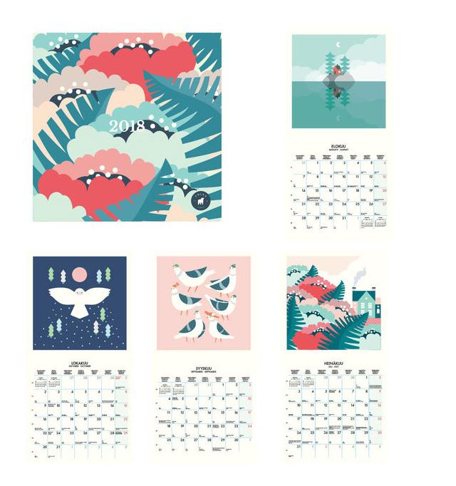 Un calendrier d'illustrateur pour 2018, par un studio finlandais!