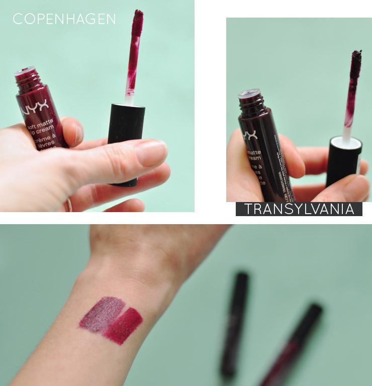Crèmes à lèvres Transylvanie et Copenhagen de NYX, favoris parmi les rouges à lèvres liquides mats