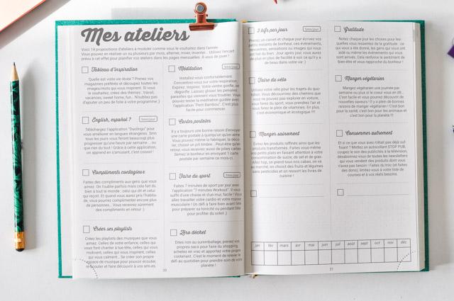 Un agenda avec des volets de développement personnel et des fonctions de Bullet Journal