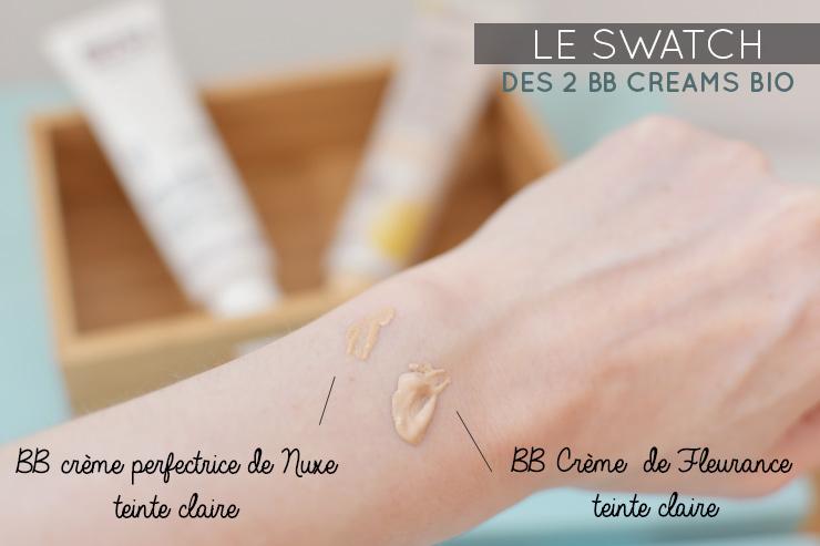 Swatch de 2 BB Cream bio de Fleurance et Nuxe - Test & avis sur ces deux cosmétiques bio sur le blog lifestyle & girly Birds & Bicycles