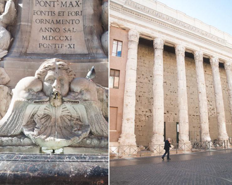 La place aux colonnes à Rome
