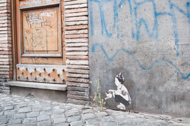 Street art à Rome dans le quartier du Trastevere
