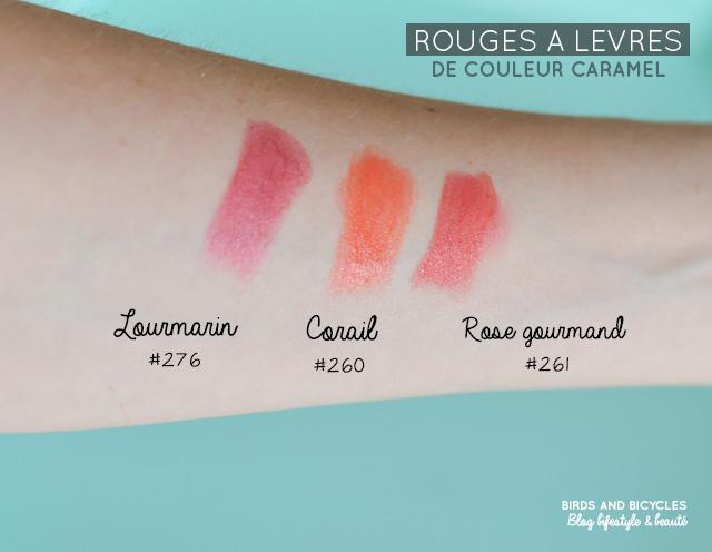 Swatch de rouges à lèvres de Couleur Caramel: Rose gourmand (261), Corail (260) et Lourmarin (276)