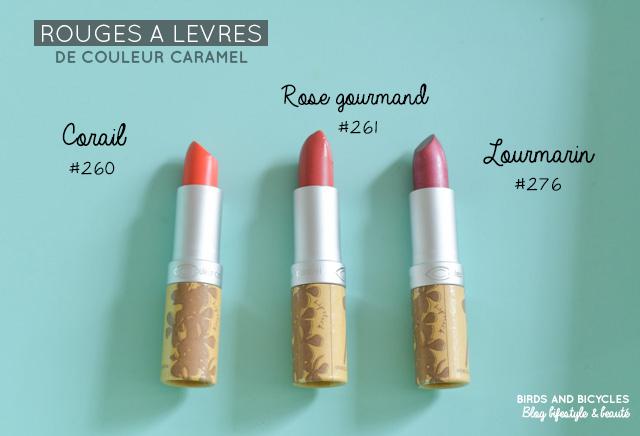 Swatch de rouges à lèvres naturels de la marque Couleur Caramel