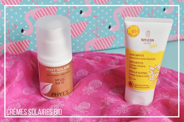 J'ai testé deux crèmes solaires bio des marques Weleda et Phyt's sur le blog Birds & Bicycles
