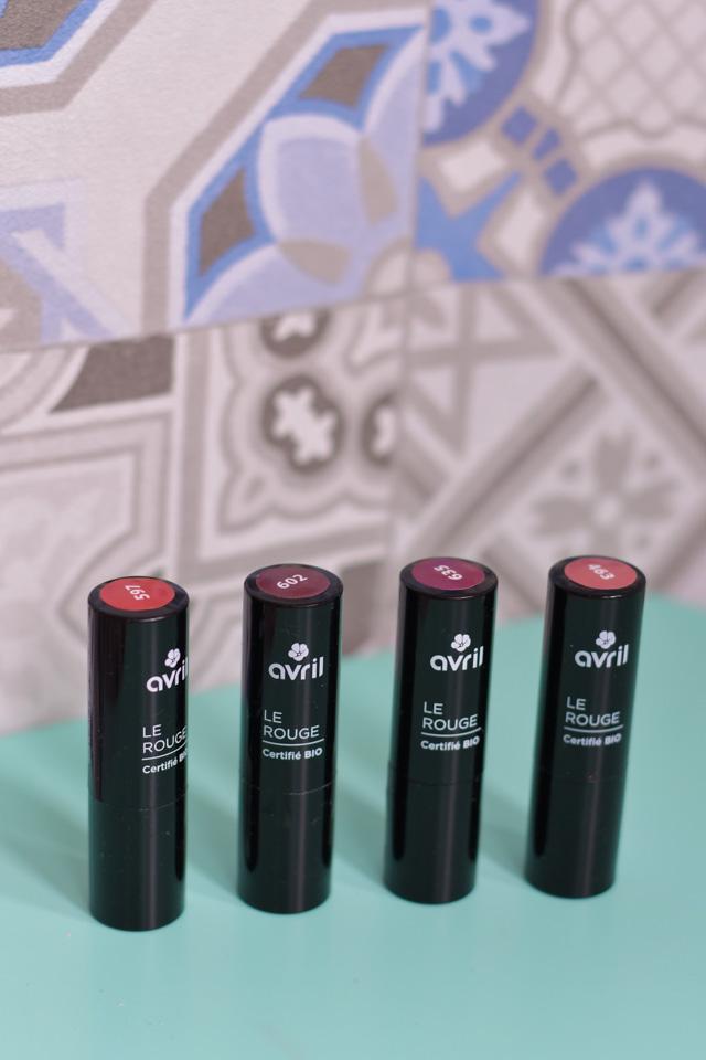 Mon avis sur les rouges à lèvres bio Avril: 635, 602, 597, 463