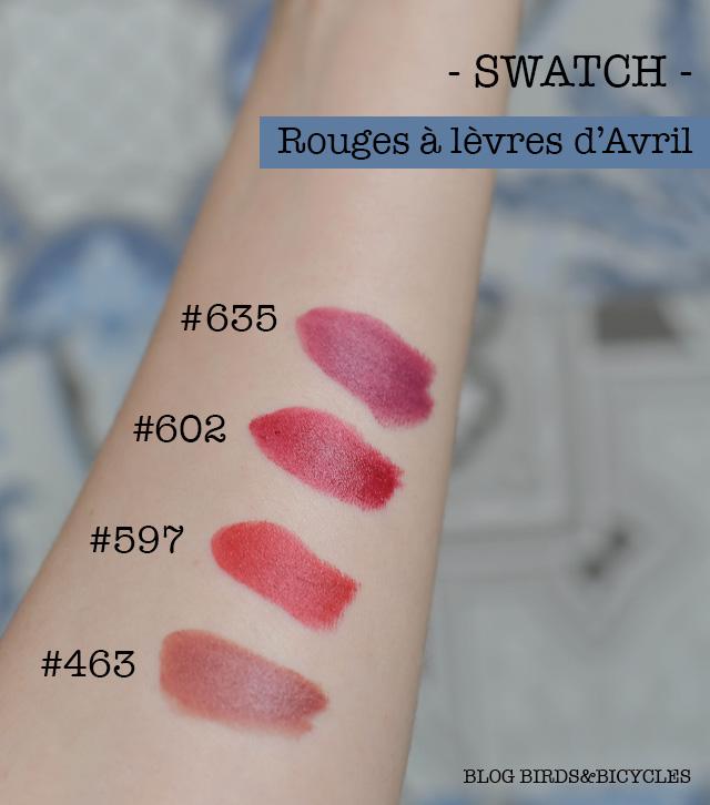 Swatch des rouges à lèvres bio Avril: 635, 602, 597, 463