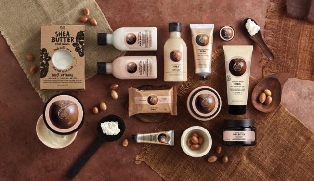 Produits au beurre de karité fairtrade chez The Body Shop