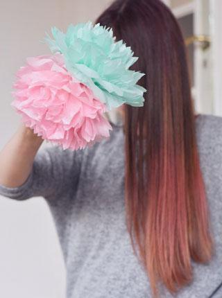 Pompons fleurs DIY