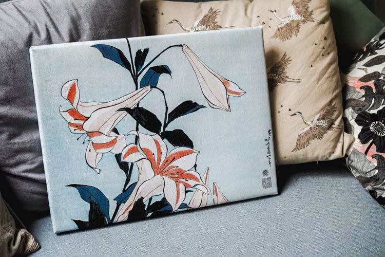 Tableau Trumpet Lillies - Hiroshige - Posterlounge