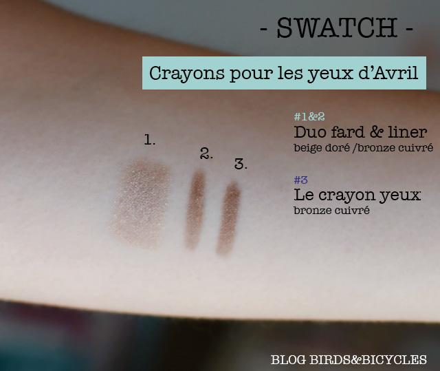 Swatch d'Avril: les crayons pour les yeux bronze cruivré et duo beige doré /bronze cuivré