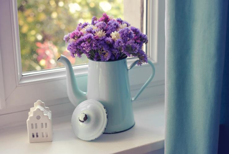 Bouquet de fleurs séchées - theiere chinée
