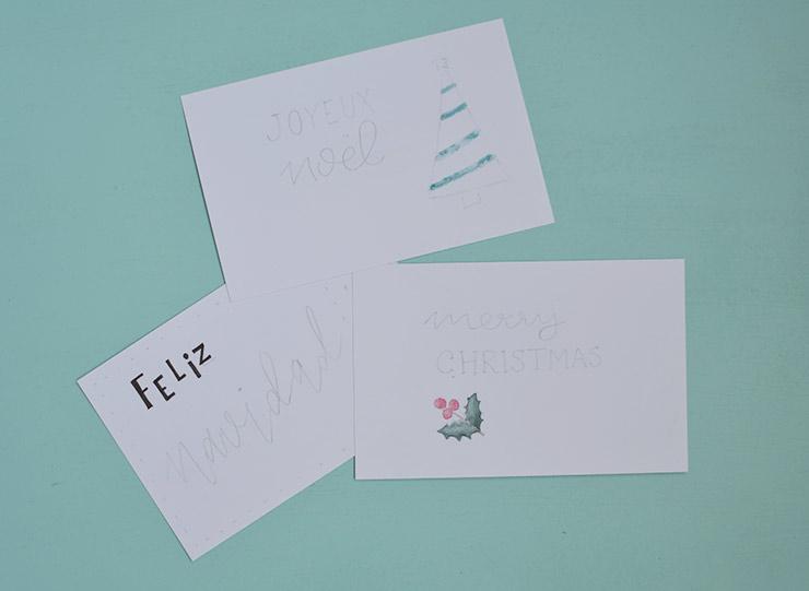 Cartes de Noël fait maison: les étapes pour les réaliser - Aquarelle & lettering