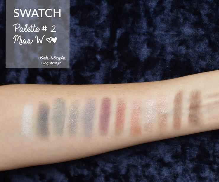 "Swatch de la palette ""Coffret tendance #2"" de Miss W"