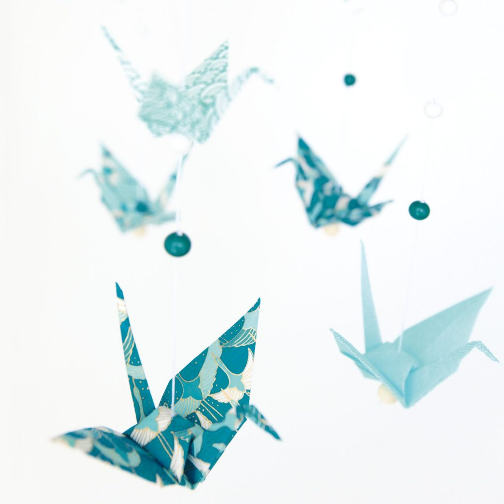 Mobile grues en origami, Kit DIY