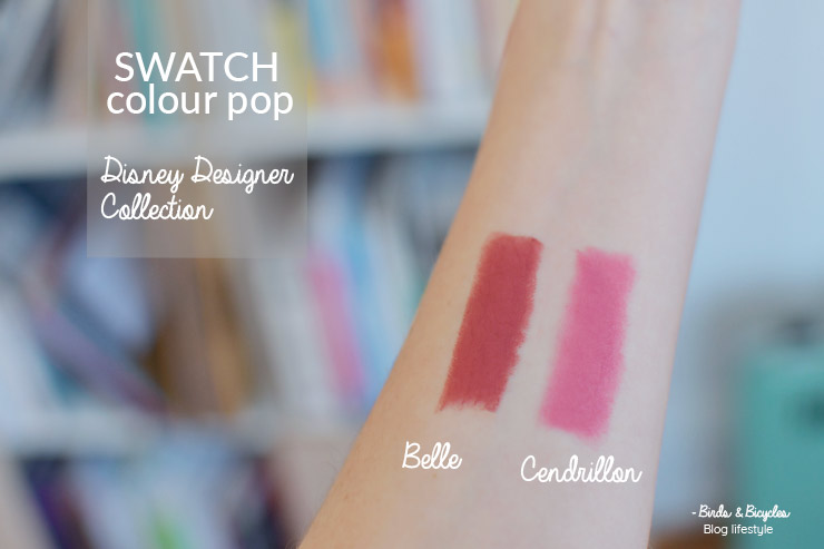 Swatch Colour Pop Disney sur le blog: lux lipsticks belle et cendrillon