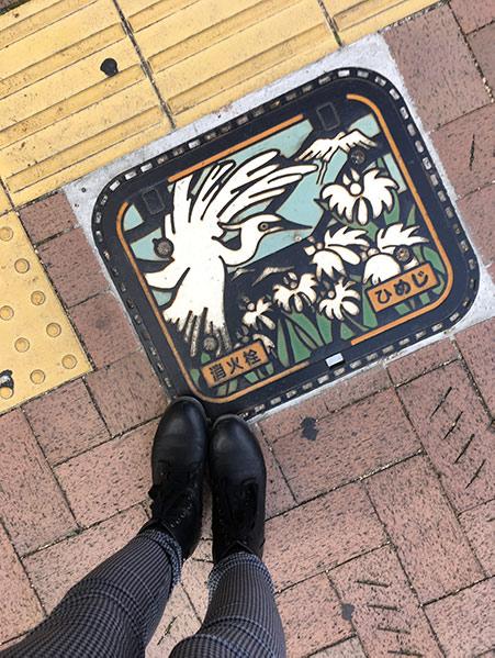 Himeji - voyage au Japon - bouches égout magnifique avec héron blanc
