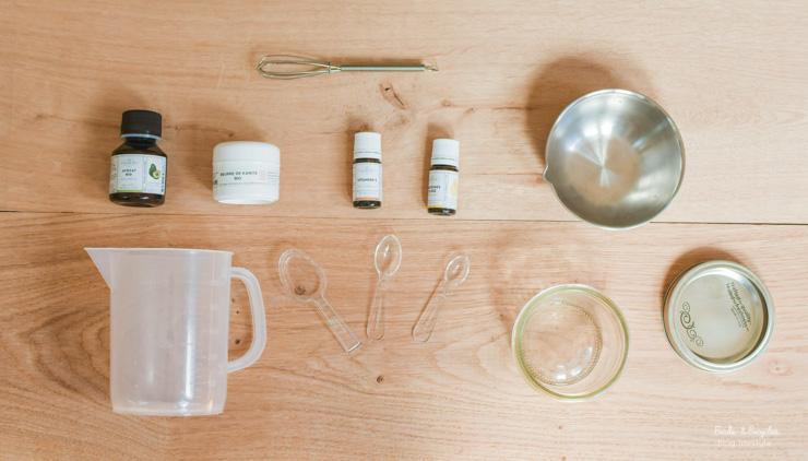 Recette cosmétique: kit pour faire un beurre corporel nourrissant à l'avocat et au beurre de karité, chez My Cosmetik.