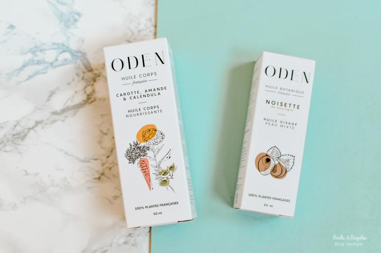 Flacons d'huiles d'Oden et leurs jolis packagings en carton