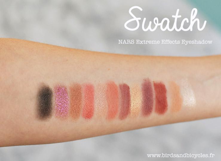 Swatch palette Extreme Effects Eyeshadows de Nars sur le blog beauté Birds & Bicycles