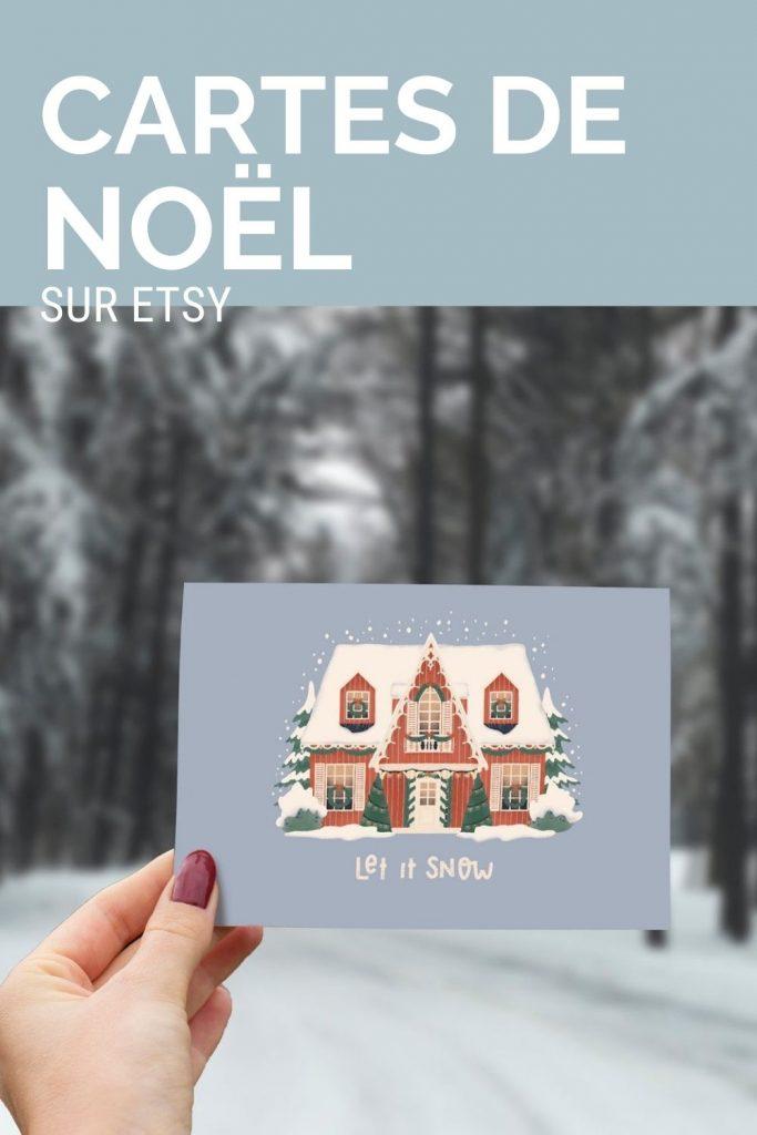 Jolies cartes de Noël sur Etsy