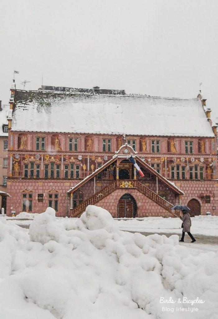La place de la réunion sous la neige - Mulhouse