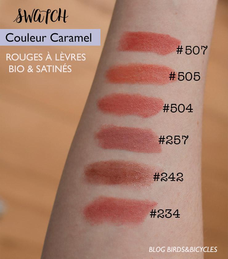 Swatch des rouges à lèvres satinés Couleur Caramel