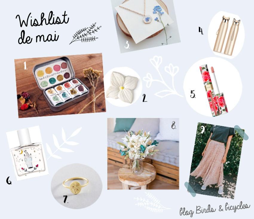 Wishlist shopping spécial printemps sur le blog lifestyle Birds & Bicycles